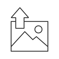 Digital image uploading linear icon