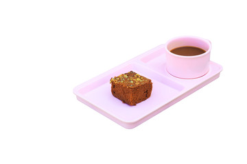 chocolate cake Sprinkle with nuts and coffee cup in pink saucer  on isolated on white background clipping path