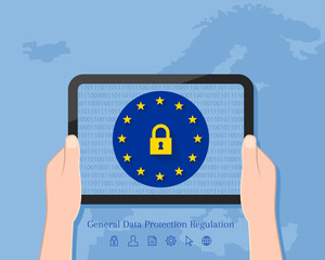 General Data Protection Regulation concept with map of Europe in the background. Hand holding tablet with lock symbol and EU flag on its screen display.