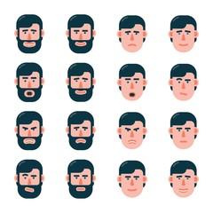 The head of a man with various emotions in slightly turned. Variants with a beard and without. Flat style.