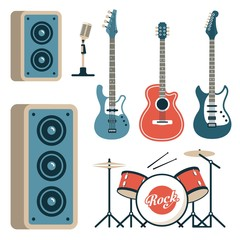 Musical instruments for rock band - acoustic, electric and bass guitars, drum set, microphone and speakers. Flat style.