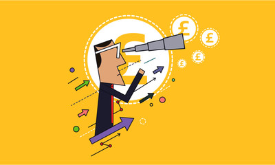 Man Looking Through a Telescope for Money / Funds. Investment Concept. Graphs and Arrows Going up. Business Idea. Vector Illustration.