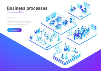 Isometric Flat People Office vector Business Management Teamwork