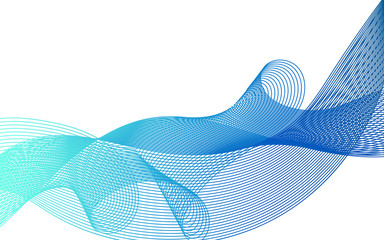 Beautiful wave lines of different colors on a white background