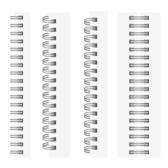 Vector set of realistic images (mock-up, layout) of silvery spirals for a notebook: a top view, a perspective view, a spiral of an open notepad. The image is created using the gradient mesh. EPS 10.