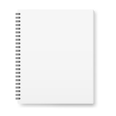 Vector realistic image (layout, mock -up) of a notebook, top view. White sheets of paper, fastened with a black spiral. Isolated on white, 3d. The image was created using a gradient mesh. Vector EPS10