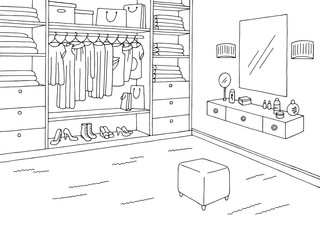 Wardrobe room graphic black white home interior sketch illustration vector