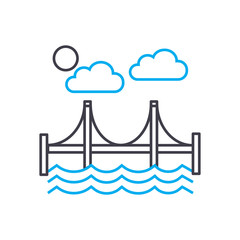 Automotive bridge line icon, vector illustration. Automotive bridge linear concept sign.
