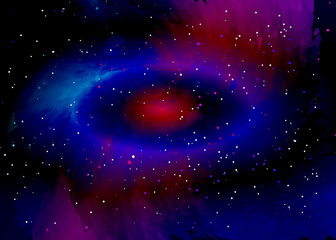 Star field in space and a nebulae. Abstract background of universe and a gas congestion. Spiral galaxy space with black holes. Vector nebula, for use with projects on science, research, and education