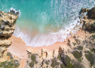 Wall Mural - Aerial view of beautiful tropical sandy beach and ocean.