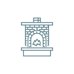 Brick fireplace line icon, vector illustration. Brick fireplace linear concept sign.
