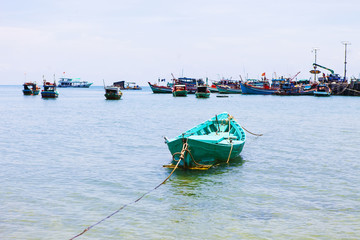 Fishing boats at bay in Hon Son Island, Kien Giang, Vietnam