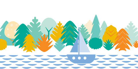Flat cartoon landscape with woods, water and sailboat, isolated on white background with space for your text