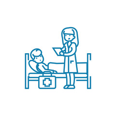 Calling a doctor line icon, vector illustration. Calling a doctor linear concept sign.