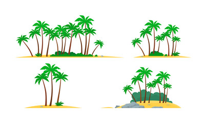 Tropical island with palm trees. Vector illustration
