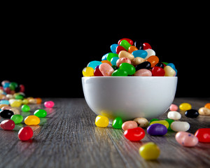 Jelly Beans in a white bowl on the table