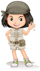 A Young Safari Girl on White Background