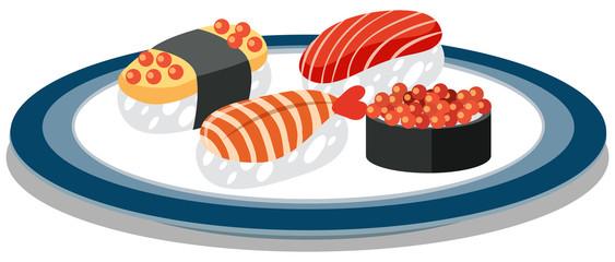 A Dish Full of Japanese Sushi