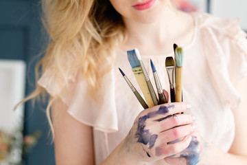 artist brushes set. instruments and tools for creative leisure. painting hobby