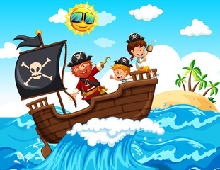 A Pirate and Happy Kids on Boat