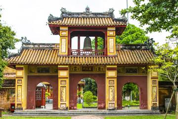 HUE, VIETNAM, April 28th, 2018: Gate of the Forbidden City at Hue, Vietnam