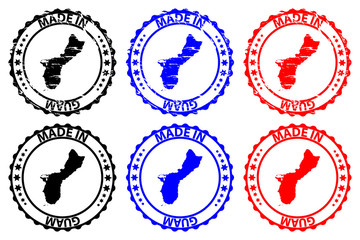 Made in Guam - rubber stamp - vector, Guam map pattern - black, blue and red