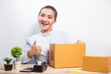 Happy woman have new idea with business at office