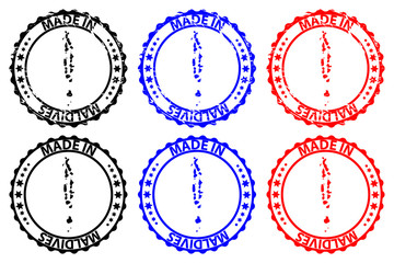 Made in Maldives - rubber stamp - vector, Republic of Maldives map pattern - black, blue and red