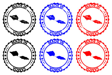 Made in Samoa - rubber stamp - vector, Independent State of Samoa map pattern - black, blue and red