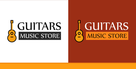Logo for Music Store with Guitar Illustration