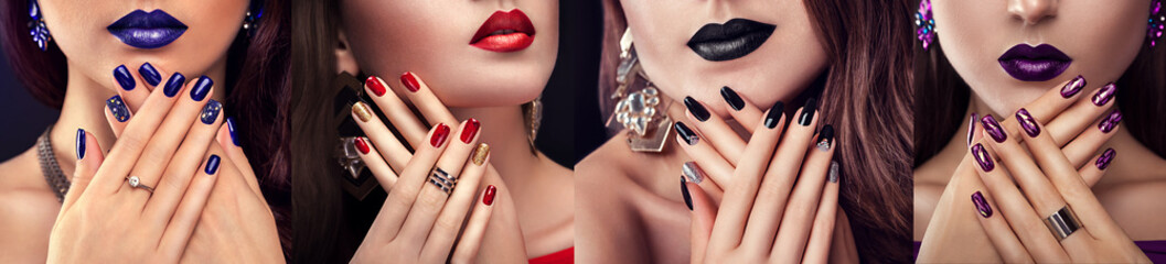 Poster de jardin Manicure Beauty fashion model with different make-up and nail design wearing jewelry. Set of manicure. Four stylish looks