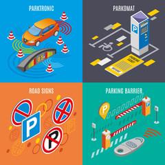 Isometric Parking Icon Set