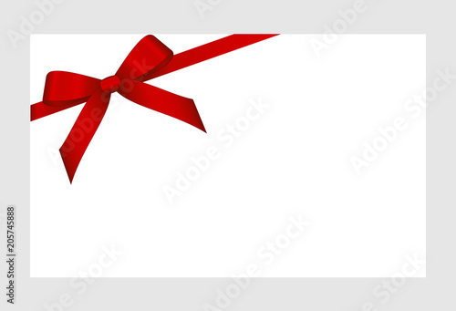 Invitation Greeting Or Gift Card With Red Ribbon And A Bow On White