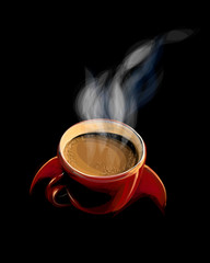 Red cup of coffee with smoke