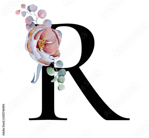 Floral Watercolor Alphabet Monogram Initial Letter R Design With