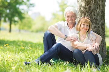 Senior couple sitting on grass