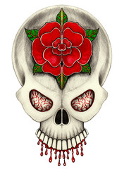 Art Skull Color Tattoo. Hand drawing and painting on paper.