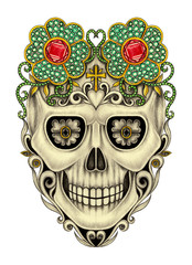 Art Sugar Skull mix Gems Tattoo. Hand drawing and painting on paper.