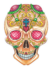 Art Sugar Skull color Tattoo. Hand color painting on paper.