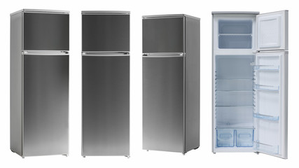 modern household refrigerator color dark metallic, four angles, isolated.