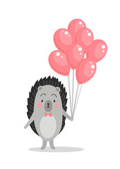 Cute hedgehog with pink balloons on white background. Sweet greeting card. Congratul