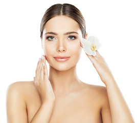 Face Beauty Skin Care, Beautiful Woman Natural Makeup Isolated over White Background, Model Hands on Cheeks