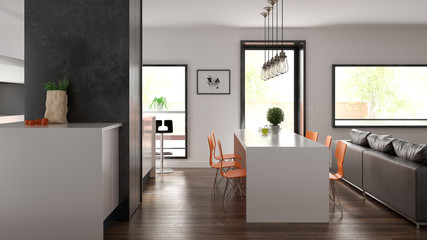 Scandinavian style interior design 3D rendering