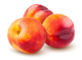 Nectarine or peach isolated on white background, clipping path, full depth of field