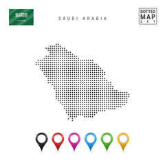 Vector Dotted Map of Saudi Arabia. Simple Silhouette of Saudi Arabia. Saudi Arabia Flag. Set of Multicolored Map Markers