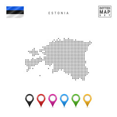Vector Dotted Map of Estonia. Simple Silhouette of Estonia. National Flag of Estonia. Set of Multicolored Map Markers