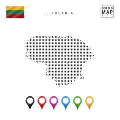 Vector Dotted Map of Lithuania. Simple Silhouette of Lithuania. Flag of Lithuania. Set of Multicolored Map Markers