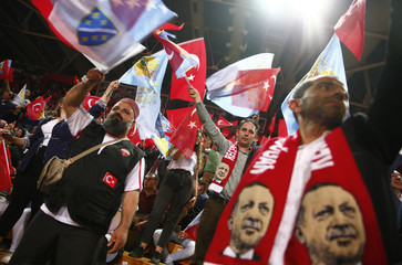 Supporters of Turkish President Erdogan attend a pre-election rally in Sarajevo