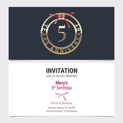 5 years anniversary invitation vector illustration