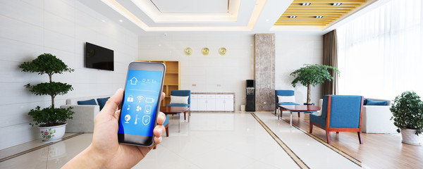 smart phone with modern meeting room